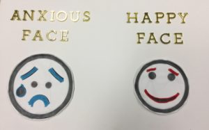 Tactile graphic show facial expression for Anxious face and Happy face